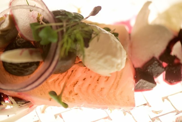 Hiillostettua, katajanmarjagraavattua siikaa, piparjuurimoussea ja suppilovahveronäkkileipää